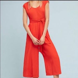 Anthropologie Red/Orange Abbey Jumpsuit